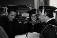 Donald Manes, Elizabeth Holtzman and President Shenker (right) at LaGuardia Community College Commencement